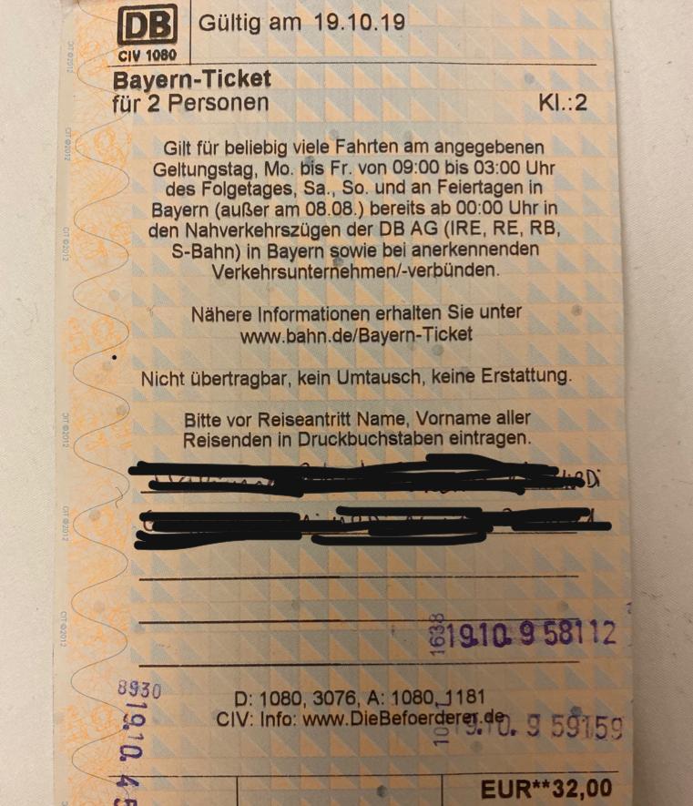 Bayern-Ticket para duas pessoas - 32 Euros