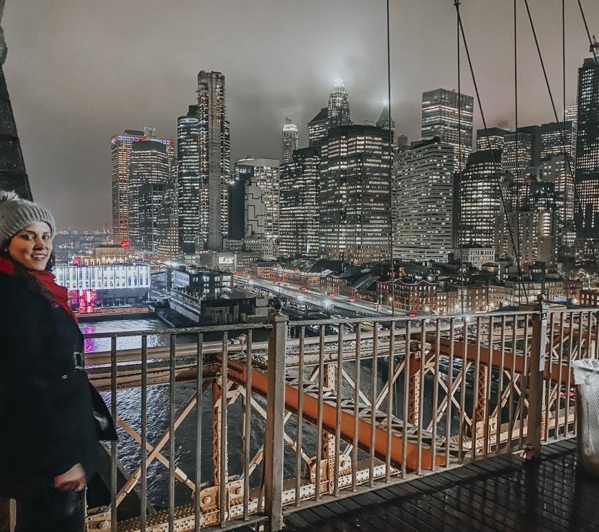 Nova york vista da ponte do brooklyn
